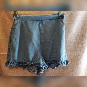 Zara Womans Denim Tencel Shorts Ruffle High Waist
